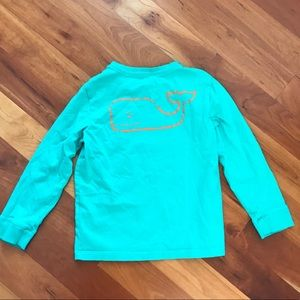 Boys Vineyard Vines Teal Shirt with Orange Whale